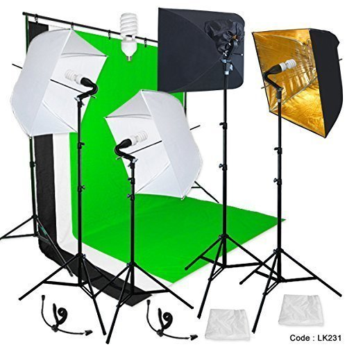 """Linco Lincostore Photography Backdrop stand 3 Muslins Studio Lighting Light Softbox Kit Gold Umbrella for Portrait and Video Shoot Soft White Umbrella (9x10 Background Support Kit / Real 7"""" Light Stand)"""