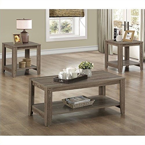 Light Wood Coffee Table (3-Pc Table Set in Taupe)