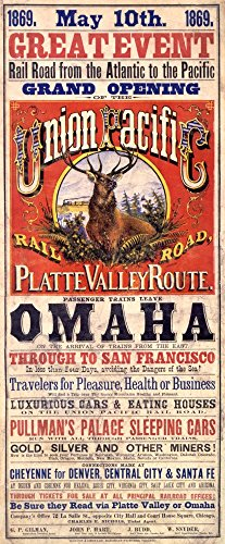 Grand Opening of the Union Pacific Railroad Platte Valley RoutePoster (artist: Baker) USA c. 1869 (12x18 Art Print, Wall Decor Travel Poster) ()