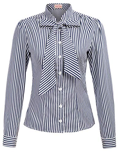 Women Blouse Button Down Shirt Collar Long Sleeve Blouse Top, Navy Stripe(Long Sleeve), Large