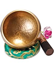 Grote Originele Tibetaanse Klankschaal – 13cm. Klankschaal Set met Klepel en Klankschaalkussen in Lokta Papieren Geschenkdoos. Singing Bowl uit Tibet