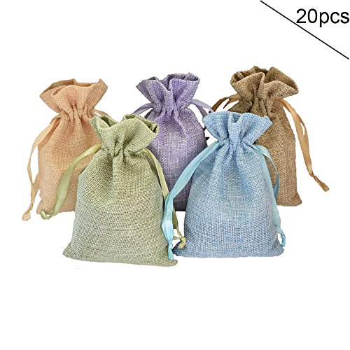 20Pcs Drawstring Bags, Reusable Linen Gift Bag, Sachet Pouch