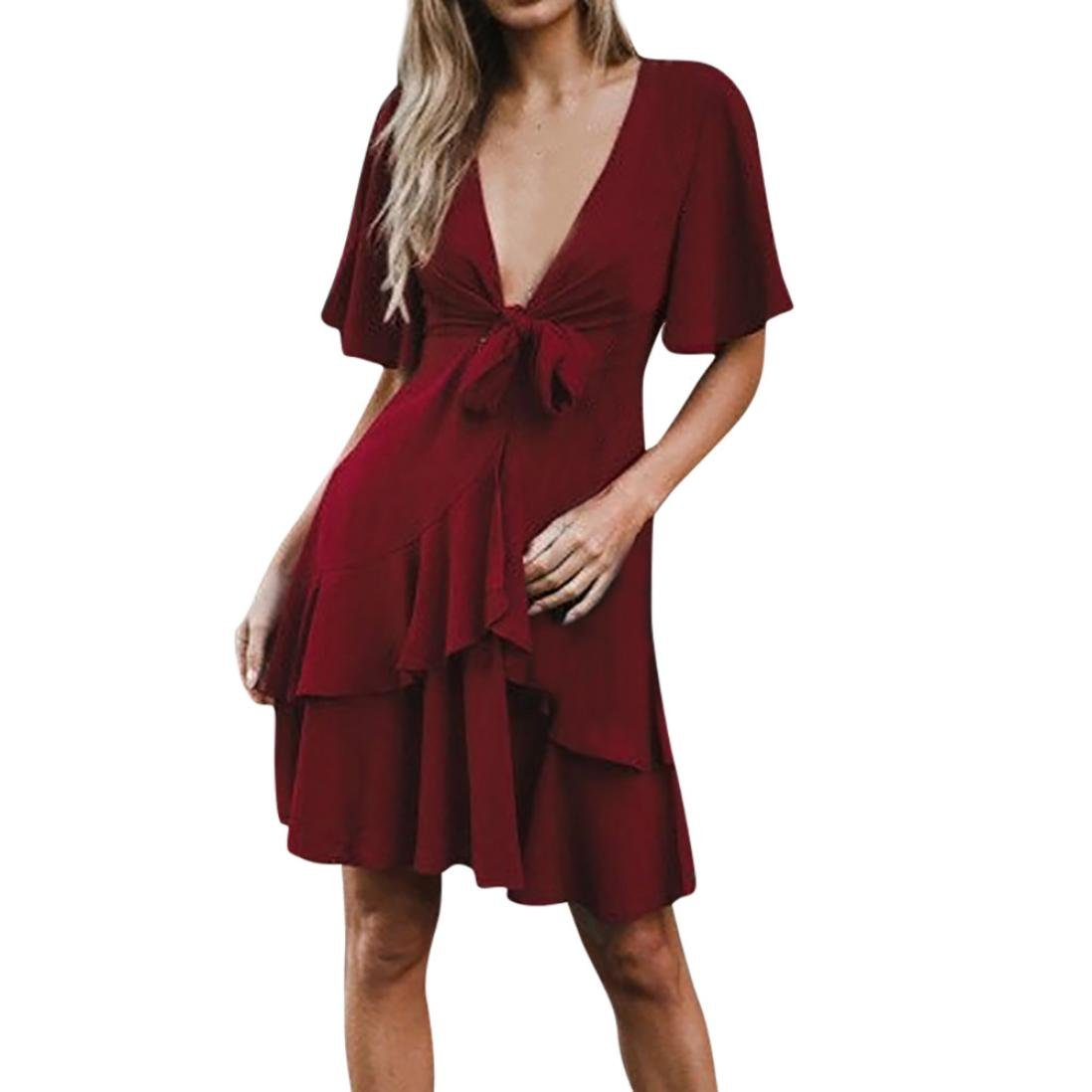 Rambling Clearance Sale 2018 Hot Style Short Sleeve Holiday Solid Dress Ladies Lotus Leaf Bowknot Party Dress