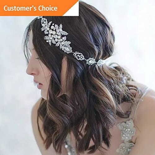 (Werrox Wedding Bridal Pearl Flower Crystal Hair Pin Clip Hair Band Crown Tiara Headwear | Model HRPN - 644 |)