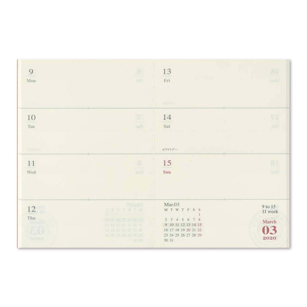 Refill agenda settimanale Travelers Notebook 2020 Weekly Diary Passport Size