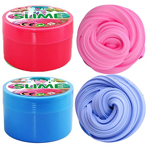 iRunning 2 Pack Fluffy Slime, 7 OZ Soft Floam Puff Slime Putty Stress Relief Toy Scented Sludge Toy for Kids and Adults (Pink,Blue)