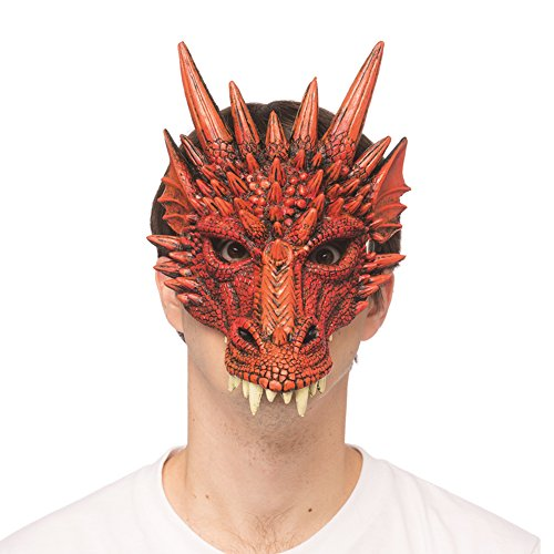 Supersoft Fantasy Adult Dragon Half Face Halloween Mask (Red)