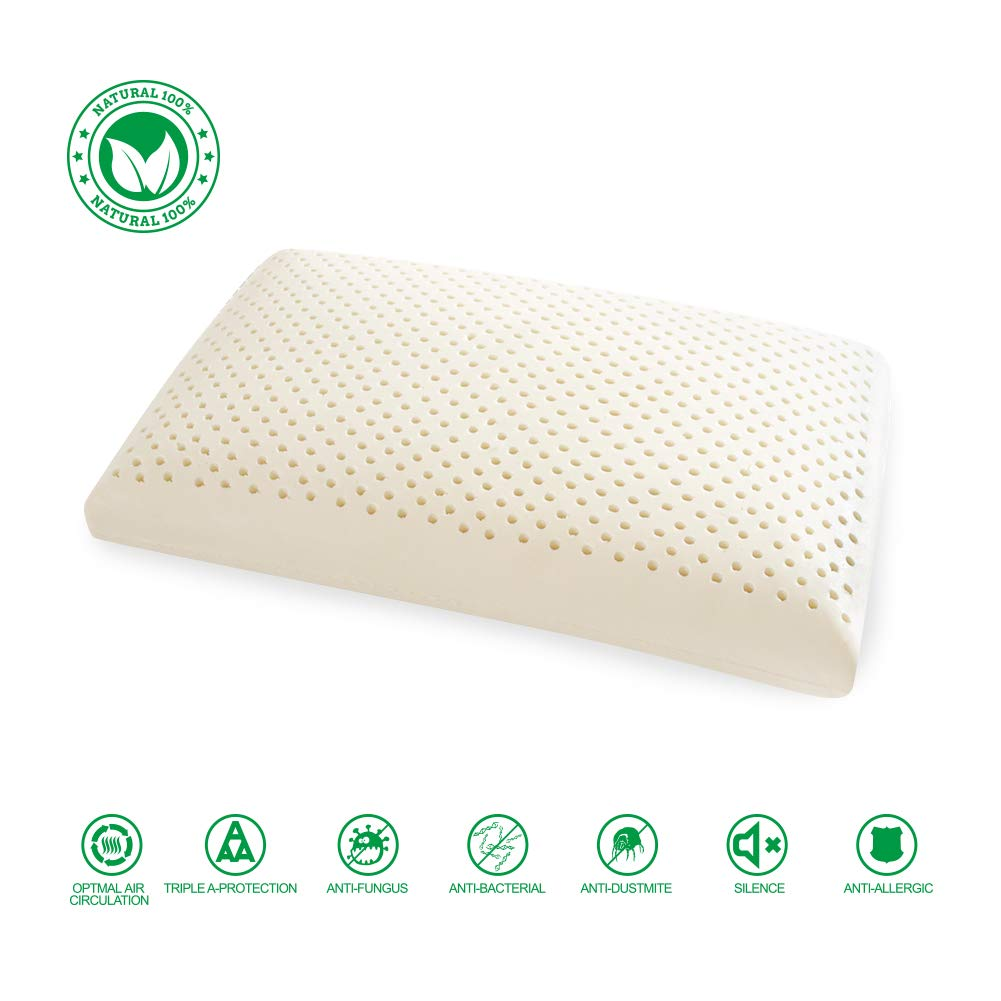 WENCHYA 100% Pure Natural Latex Pillow with High-end Embroidered Pillowcase,100% Bamboo Fiber Pillowcase(Bread Pillow)