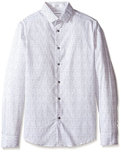 Calvin Klein Big Boys' Scribble Grid Print L/S Shirt, White, 16