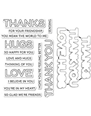 Thanks Thank You Love Hugs Alphabets Dies and Stamp Sets for Card Making Thinking of You Clear Rubber Stamp for DIY Scrapbooking Paper Crafting Handmade Crafts Metal Cutting Dies Scrapbooking Supplies