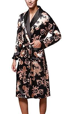 LD Mens Shawl Collar Kimono Print Silk Satin Sleepwear Robe Bathrobe