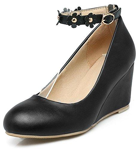 Easemax Strap Black Cut Low Pump Womens Comfy Flower Ankle Wedges rwxgrYqzC