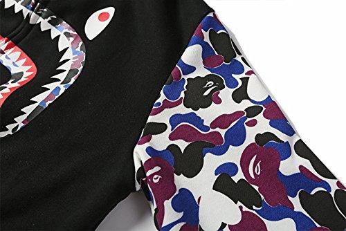 Velours Hiver Veste Pour Imprimé Homme Sweat Automne Capuche Requin Noir Avec Sissiren À HRxw1qP5nR