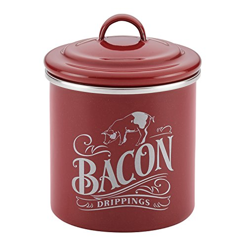 (Ayesha Curry 46948 Enamel on Steel Bacon Grease Can, Sienna Red )