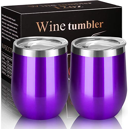 MASCOTKING Wine Tumbler With Non-Slip Bases-12 oz Double Wall Stainless Steel Stemless Insulated Wine Glass with Lid-Father's Day Gifts(2 PACK, Purple 02)