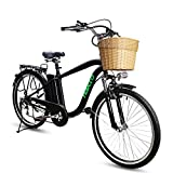 NAKTO/SPARK 26'' City Electric Bicycle Ebike with Removable Large Capacity 36V 10Ah Lithium Battery 250W Electric Bike for Men with Battery Charger(Black)