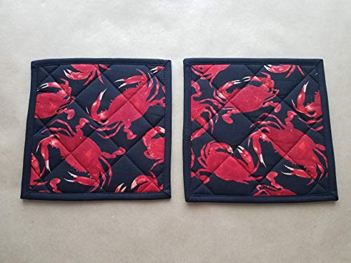 - Red Crab Potholders, Set of 2, Quilted Trivets, Hot Pads, Crab Home Decor, Coastal Kitchen Theme, Beach House, Coastal Home Themed, Nautical Kitchen Gifts, Gifts Under 20, Nautical Kitchen Decor