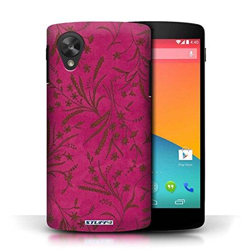 Etui pour LG Google Nexus 5/D821 / Rose/Orange conception / Collection de Motif floral blé