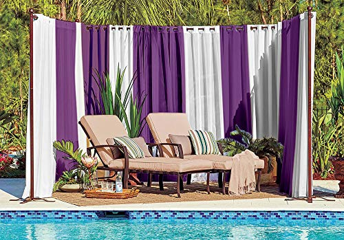 Pro Space Outdoor Privacy Screen Curtains - Ideas for Pool/Backyard/Balcony - Easy Waterproof Gromments Curtain Drapes 98x84inch,1Panel (Purple +Ivory)