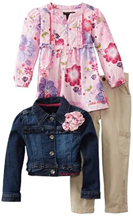 Calvin Klein Little Girls' Toddler Jacket With Pink Printed Top And Cargo Pant, Denim, 2T