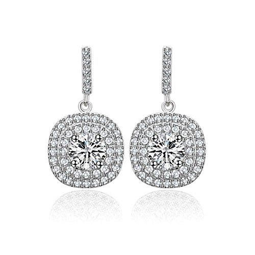 Platinum Plated Cubic Zirconia Pave Setting Halo Drop Earring, Cubic Zirconia Stud Earrings (Platinum-Plated-Clear-Stones)