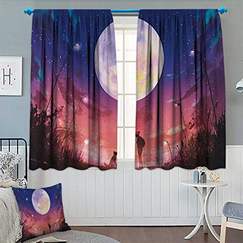 Fantasy Thermal Insulating Blackout Curtain Young Woman with A Dog Under Huge Moon Starry Sky Celestial Magical Friendship Art Patterned Drape for Glass Door 63