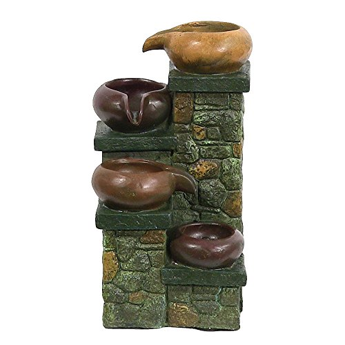 Sunnydaze Tiered Pitchers on Brick Steps Tabletop Fountain with LED Light, 10 In