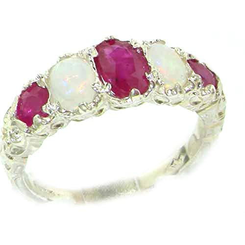 925 Sterling Silver Real Genuine Ruby and Opal Womens Band Ring