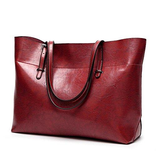 señora de de de moda tamaño especial Penao cuero Bolso simple mensajero de hombro Red bolso 38cmx13cmx30cm R4x7p