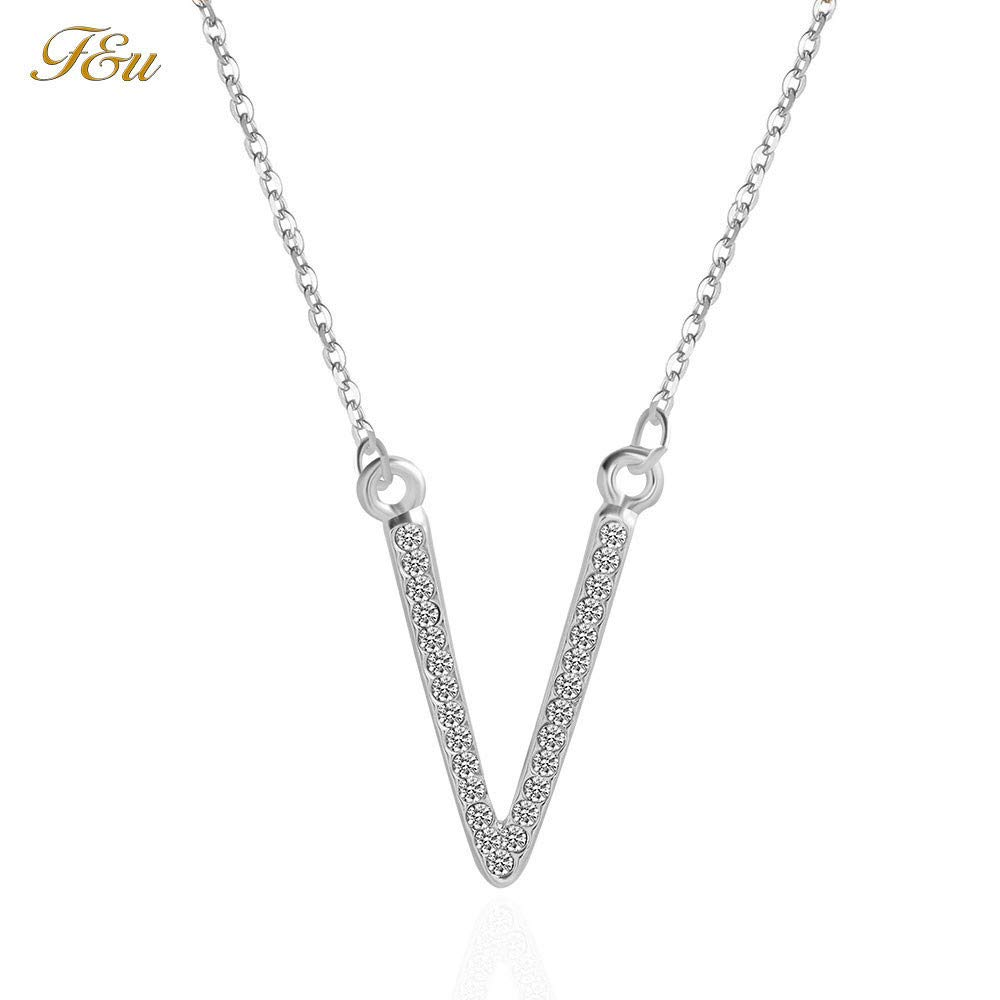 Women Charm V-Type Crystal Rhinestone Pendant Necklaces Stainless Steel Necklace Choker Sparkling Jewelry Accessories Gift for Women Girl