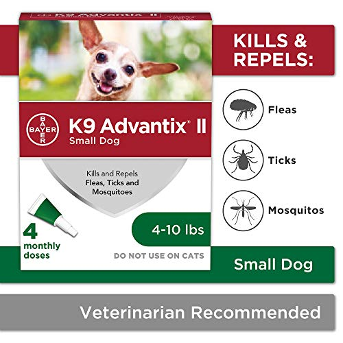 Bayer K9 Advantix II Flea Tick and Mosquito Prevention for Small Dogs 4  10 lb 4 doses