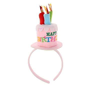 Dovewill Novelty Happy Birthday Pink Blue Adults Kids Headband With Cake Candles Hat Plush Women Girls