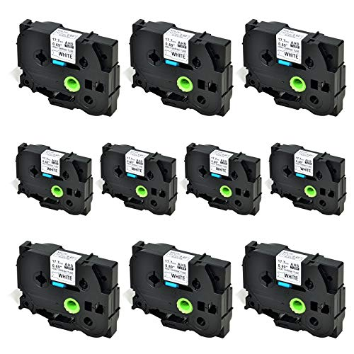 SuperInk 10 Pack Compatible for Brother HSe-241 HSe241 HS-241 HS241 Black on White Heat Shrink Tube Label Tape use in PT-D400 PT-D600 PT-E300 PT-E500 PT-P750WVP Printer (0.69''x 4.92ft, 17.7mm x 1.5m)
