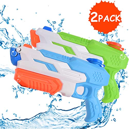 Mayzo 2 Pack Super Water Gun for Kids Adults,32ft Long Range Water Pistol Toy for Summer Party 20oz High Capacity Water Soaker Blaster Squirt Toy for Swimming Pool Beach Sand Water Fighting Blue/Green