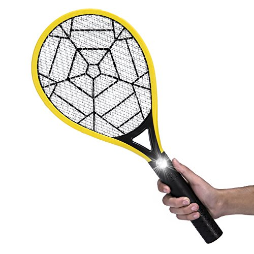 Mokale Electric Fly Swatter-Rechargeable Bug Zapper Racket and Mosquito Insects Killer-3000 Volt- Fly Traps with Bright LED Light-3-Layer Mesh for Indoor and Outdoor Pest Control