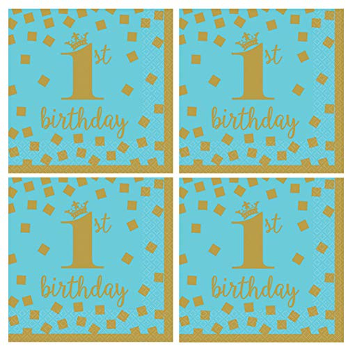 (1st Birthday Party Napkins 32 Count - Blue & Gold - One Year Old Boy Birthday Celebration Luncheon Napkins)