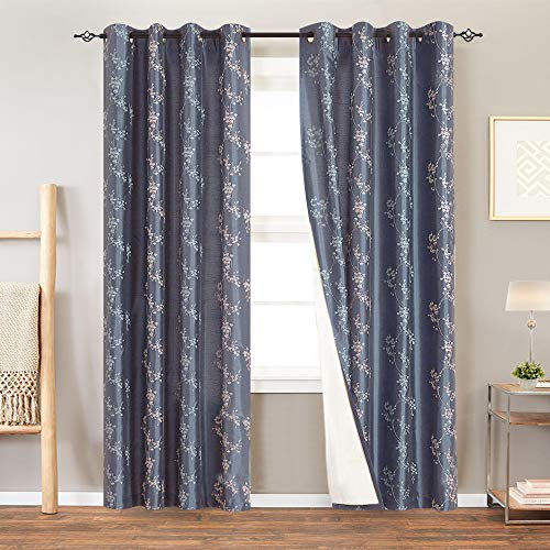 Lined Luxury Faux Silk Floral Embroidered Curtains for Bedroom Embroidery Curtain for Living Room 84 inches Long Drapes, 2 Panels, Slate Blue