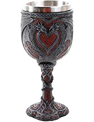 Pacific Giftware Double Dragon Heart Love Goblet Wine Cup 7 inch