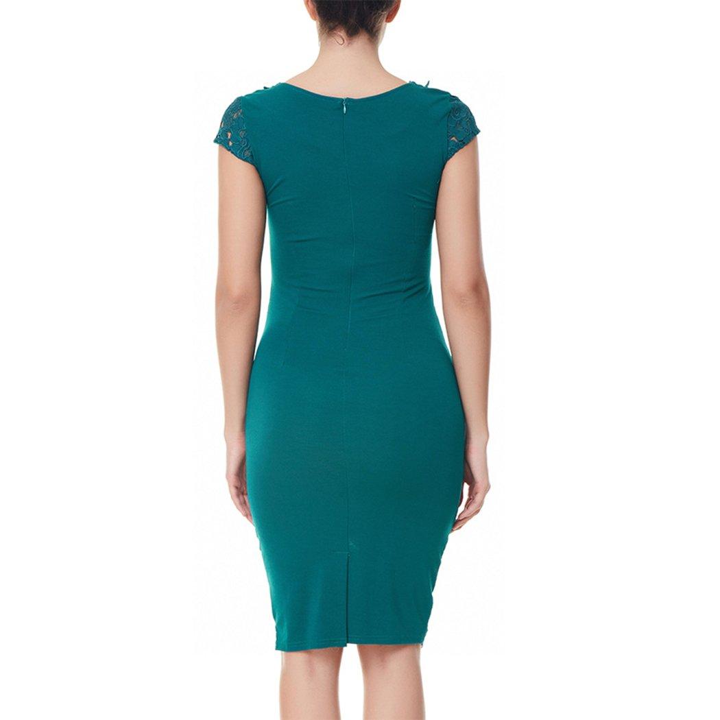 fdf20127a6976e HANMAX Damen Bleistift Spitzenkleid Etuikleid Festzug Edle Business-Kleid  Abendkleid Cocktailkleid Partykleid: Amazon.de: Bekleidung