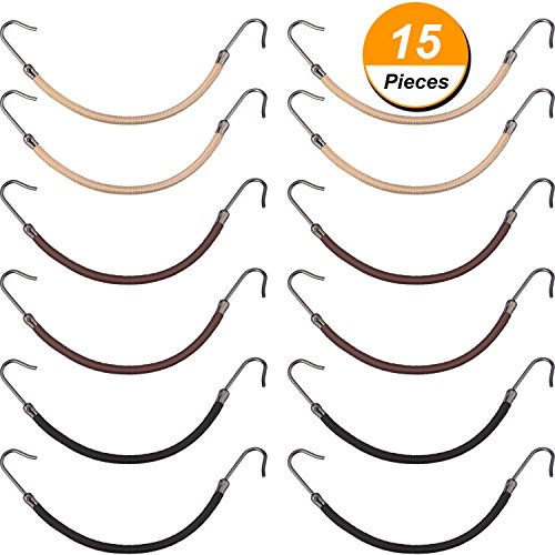 Hotop 15 Pieces Elastic Bands Hair Styling Ponytail Hooks, Black, Brown and (Tie Hair Wrap)