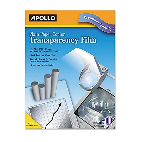 - Apollo PP201C Plain Paper B/W Laser Transparency Film w/Handling Strip, Letter, Clear, 100/Box