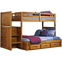 Discovery World Furniture Mission Twin over Full Staircase Bed with 3 Drawer Storage, Honey