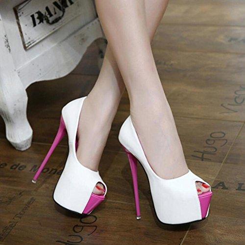 Evening Platform Heels Toe amp; Fall White Patent Summer Heels Dress Leather Spring Party Peep Women Wedding 0Oqff