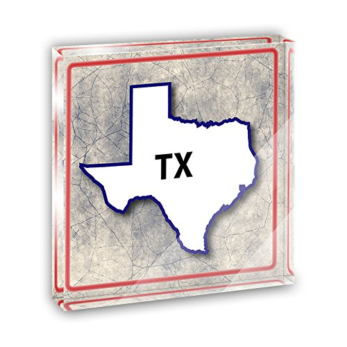 Texas TX State Outline on Faded Blue Acrylic Office Mini Desk Plaque Ornament Paperweight