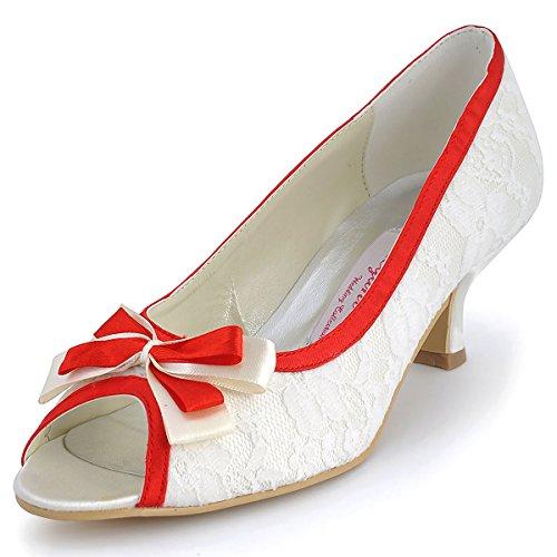 ElegantPark ML-004 Women Peep Toe Kitten Low Heel Bowknot Satin Edge Lace Party Wedding Shoes Red US 10