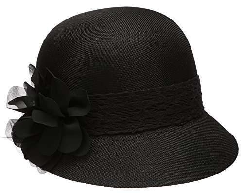 Women's Gatsby Linen Cloche Hat With Lace Band And Flower - Black