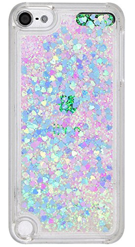 iPod Touch 6 Case, iPod Touch 5 Case,Glitter Liquid Quicksand Bling Twinkle Floating Flowing Moving Shiny Heart Sparkle Hard PC Case for Apple iPod Touch 5th 6th Generation, Glitter Blue Pink