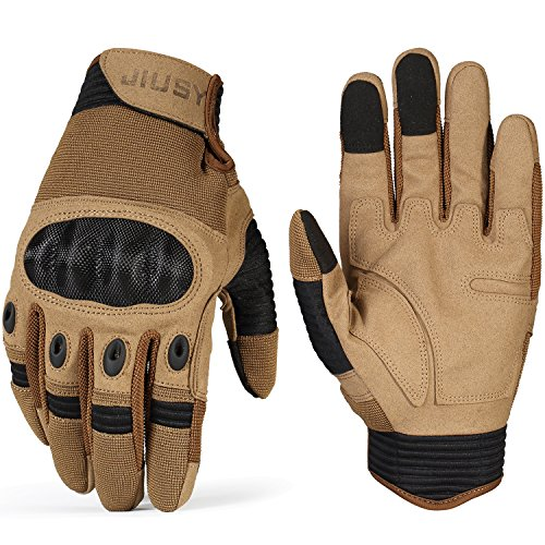 JIUSY Touch Screen Tactical Military Hard Knuckle Full Finger Gloves for Army Airsoft Paintball Shooting Combat Hunting Hiking Riding Motorcycle Cycling Bicycle Work Gear Brown Size Medium