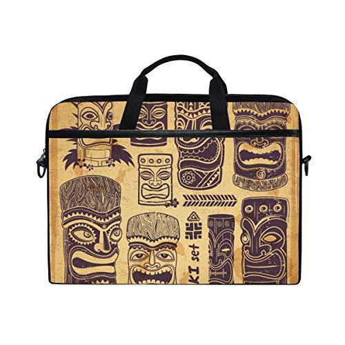 Vintage Aloha Tiki Icons Multifunctional Laptop Briefcase Tablet Bag Tote Computer Case Handbag Pouch for Men Women
