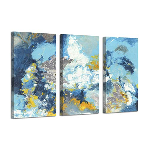 Abstract Art Ocean Picture Print: Sea Breeze Silver Foil Oil Painting on Canvas for Decor